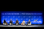 From left, Minister Francine Baron from the Commonwealth of Dominica, Mark Okerstrom, president and CEO of the Expedia Group, Chef Jose Andres, founder of world Central Kitchen, Patricia Scotland, secretary general from The Commonwealth of Nations and United States Former President Bill Clinton participate on a panel about hurricane recovery during the third meeting of the Clinton Global Initiative (CGI) Action Network on Post-Disaster Recovery, held at the Miramar Convention Center, in San Juan, Puerto Rico, Tuesday Jan. 29, 2019. The Action Network brings together leaders in government, business, and civil society to develop strategies and solutions to address hurricane recovery needs. (AP Photo/Carlos Giusti)