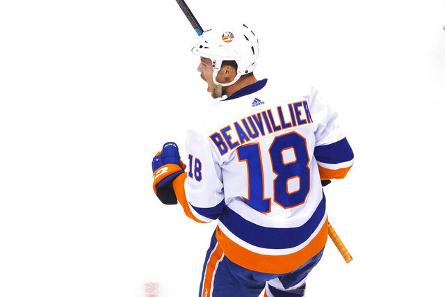 New York Islanders left wing Anthony Beauvillier (18) celebrates his goal against the Florida Panthers during the first period of an NHL hockey game in Toronto, Friday, Aug. 7, 2020. (Chris Young/The Canadian Press via AP)