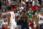 West Virginia's Derek Culver (1) reacts after a foul during the second half of an NCAA college basketball game against Texas Tech, Wednesday, Jan. 29, 2020, in Lubbock, Texas. (AP Photo/Brad Tollefson)