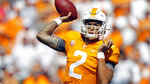 Tennessee quarterback Jarrett Guarantano (2) throws to a receiver in the first half of an NCAA college football game against Georgia State, Saturday, Aug. 31, 2019, in Knoxville, Tenn. (AP Photo/Wade Payne)