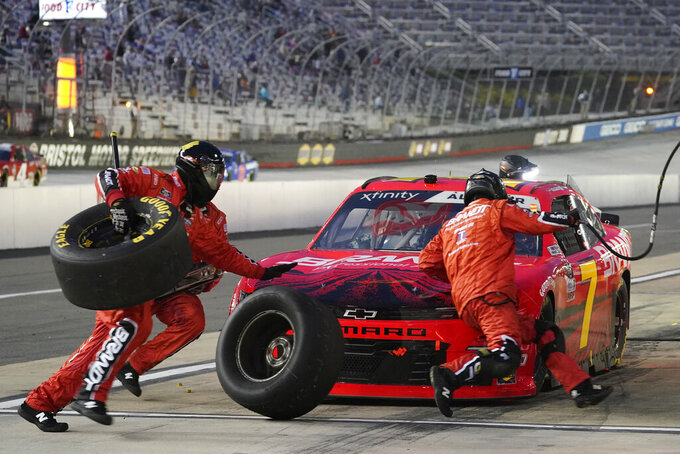 Justin Allgaier makes a pit stop during the NASCAR Xfinity Series auto race Friday, Sept. 18, 2020, in Bristol, Tenn. (AP Photo/Steve Helber)