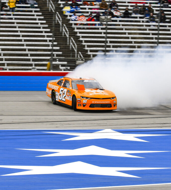Driver David Starr spins out exiting turn four during a NASCAR auto race at Texas Motor Speedway, Saturday, March 30, 2019, in Fort Worth, Texas. (AP Photo/Randy Holt)
