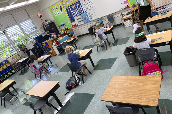 In this photo provided by Keoki Fraser, a small group of kindergarteners sits spaced apart in a classroom at Aikahi Elementary School in Kailua, Hawaii on Monday, Aug. 17, 2020. The teachers union is concerned many students are going to campuses despite announcements from education officials that Hawaii public schools would be starting the first four weeks online. Aikahi Principal Keoki Fraser says small groups of students are coming in this week for a few hours at a time for orientation, learning how to use technology for remote learning, and to connect with teachers and friends. (Keoki Fraser via AP)