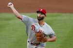 Philadelphia Phillies starting pitcher Jake Arrieta delivers during the second inning of a baseball game against the New York Yankees, Monday, Aug. 3, 2020, at Yankee Stadium in New York. (AP Photo/Kathy Willens)
