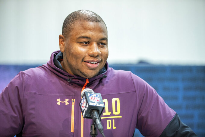 Clemson defensive lineman Dexter Lawrence talks to the media at the NFL Scouting Combine on Saturday, March 2 2019 in Indianapolis. (Detroit Lions via AP)