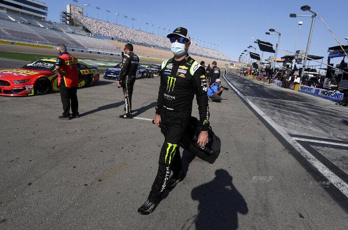 Kurt Busch arrives at the track before a NASCAR Cup Series auto race, Sunday, Sept. 27, 2020, in Las Vegas. (AP Photo/Isaac Brekken)