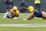 Green Bay Packers defensive back Darnell Savage, left, intercepts a pass during the second half of an NFL football game against the Denver Broncos, Sunday, Sept. 22, 2019, in Green Bay, Wis. Green Bay won 27-16. (AP Photo/Matt Ludtke)