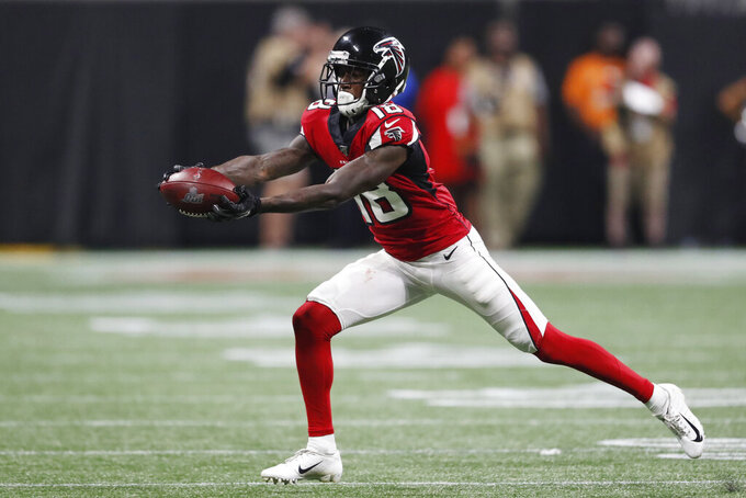 Atlanta Falcons wide receiver Calvin Ridley (18) makes the catch against the Philadelphia Eagles during the second half of an NFL football game, Sunday, Sept. 15, 2019, in Atlanta. (AP Photo/John Bazemore)
