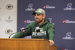 FILE - In this Jan. 17, 2020, file photo, Green Bay Packers head coach Matt LaFleur answers a questions from the media in Green Bay, Wis. The NFL Draft is April 23-25. (AP Photo/Mike Roemer, File)