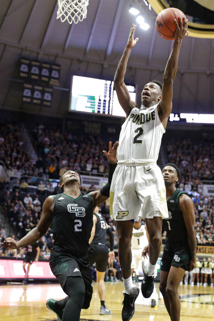 Purdue guard Eric Hunter Jr. (2) shoots over Green Bay guard PJ Pipes (2) during the second half of an NCAA college basketball game in West Lafayette, Ind., Wednesday, Nov. 6, 2019. (AP Photo/Michael Conroy)