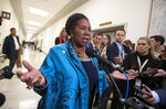 FILE - In this Dec. 7, 2018, file photo, U.S. Rep. Sheila Jackson Lee, D-Texas, speaks to reporters on Capitol Hill in Washington. The topic of reparations for slavery is headed to Capitol Hill for its first hearing in more than a decade. Jackson Lee, the resolution's new sponsor, pushed for the hearings, scheduled to begin Wednesday, June 19, 2019. (AP Photo/J. Scott Applewhite, File)