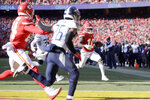 Kansas City Chiefs' Tyreek Hill (10) runs for a touchdown during the first half of the NFL AFC Championship football game against the Tennessee Titans Sunday, Jan. 19, 2020, in Kansas City, MO. (AP Photo/Jeff Roberson)