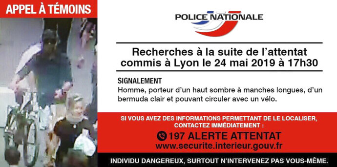 In this May 24, 2019 screen grab taken from the French police website - an image and description of a suspect wanted in connection with an explosion in Lyon. French police are hunting a suspect following an explosion that wounded 13 people in a busy pedestrian street Friday in the city of Lyon. (French Police via AP)