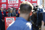 Geoconda Arguello-Kline, Secretary-Treasurer of the Culinary Union, speaks at a news conference to announce the union's decision to stay out of the state's Democratic presidential caucuses and not endorse a candidate, Thursday, Feb. 13, 2020, in Las Vegas. (AP Photo/Patrick Semansky)