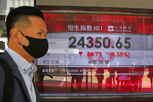 A masked man walks past an electronic board showing Hong Kong share index outside a local bank in Hong Kong, Wednesday, April 15, 2020. Asian stocks edged lower Wednesday after the International Monetary Fund said the global economy will suffer its worst year since the Great Depression of the 1930s due to the coronavirus pandemic. (AP Photo/Kin Cheung)