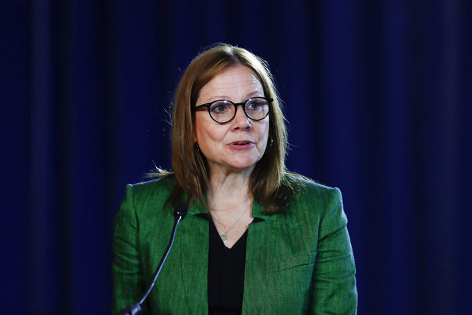 FILE - In this July 16, 2019, file photo General Motors Chairman and Chief Executive Officer Mary Barra speaks during the opening of their contract talks with the United Auto Workers in Detroit.   (AP Photo/Paul Sancya, File)