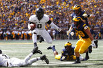 Army quarterback Kelvin Hopkins Jr. (8) runs the ball in the first half of an NCAA college football game against Michigan in Ann Arbor, Mich., Saturday, Sept. 7, 2019. (AP Photo/Paul Sancya)