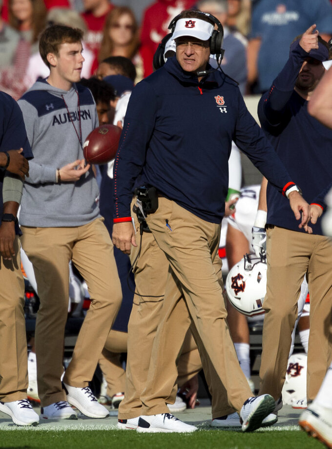 Auburn head coach Gus Malzahn paces the sideline during the first half of an NCAA college football game against Alabama, Saturday, Nov. 24, 2018, in Tuscaloosa, Ala. (AP Photo/Vasha Hunt)