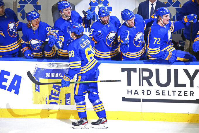 Buffalo Sabres forward Victor Olofsson (68) celebrates his goal during the third period of an NHL hockey game against the New York Rangers, Saturday, April 3, 2021, in Buffalo, N.Y. (AP Photo/Jeffrey T. Barnes)