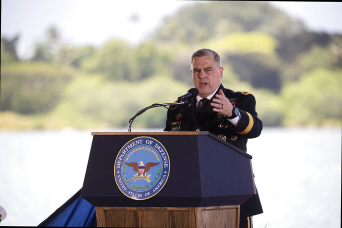 """Gen. Mark A. Milley speaks at a Change of Command ceremony for the U.S Indo-Pacific Command, Friday, April 30, 2021  at  Joint Base Pearl Harbor-Hickam west of Honolulu. In his first major speech as Pentagon chief, Lloyd Austin on Friday called for developing a """"new vision"""" for American defense in the face of emerging cyber and space threats and the prospect of fighting bigger wars. (Cindy Ellen Russell/Honolulu Star-Advertiser via AP)"""