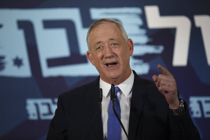 Blue and White party leader Benny Gantz addresses media in Tel Aviv,Israel. Wednesday, Nov. 20, 2019. Gantz has failed to form a new government by a deadline, dashing his hopes of toppling the long-time Israeli prime minister Netanyahu and pushing the country closer toward an unprecedented third election in less than a year. (AP Photo/Oded Balilty)