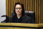 Judge Janice Craig presides over a preliminary hearing for Curtis Watson Wednesday, Nov. 20, 2019, in Ripley, Tenn. Watson is accused of murdering Tennessee Department of Correction department administrator Debra Johnson after Watson escaped from the West Tennessee State Penitentiary in August. (AP Photo/Mark Humphrey, Pool)