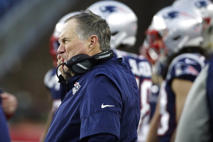 New England Patriots head coach Bill Belichick watches from the sideline in the second half of an NFL football game against the Miami Dolphins, Sunday, Dec. 29, 2019, in Foxborough, Mass. (AP Photo/Elise Amendola)