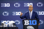 Penn State head coach James Franklin speaks during an NCAA college football news conference at the Big Ten Conference media days, Thursday, July 22, 2021, at Lucas Oil Stadium in Indianapolis. (AP Photo/Doug McSchooler)
