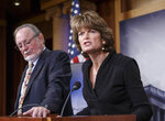 FILE - In this Jan. 26, 2015 file photo, Senate Energy and Natural Resources Committee Chair Lisa Murkowski, R-Alaska, right, with Rep. Don Young, R-Alaska, hold a news conference about Alaska's energy future, at the Capitol in Washington. The Interior Department hopes to conduct a lease sale by the end of 2019. The U.S. Geological Survey estimates the plain holds 10.4 billion barrels of oil. U.S. Sen. Lisa Murkowski, R-Alaska, calls the coastal plain North America's greatest prospect for conventional petroleum production. Congress did not take a direct vote on opening the refuge. Instead, a provision for lease sales was included in President Donald Trump's Tax Cuts and Jobs Act in Dec. 2017. (AP Photo/J. Scott Applewhite, File)