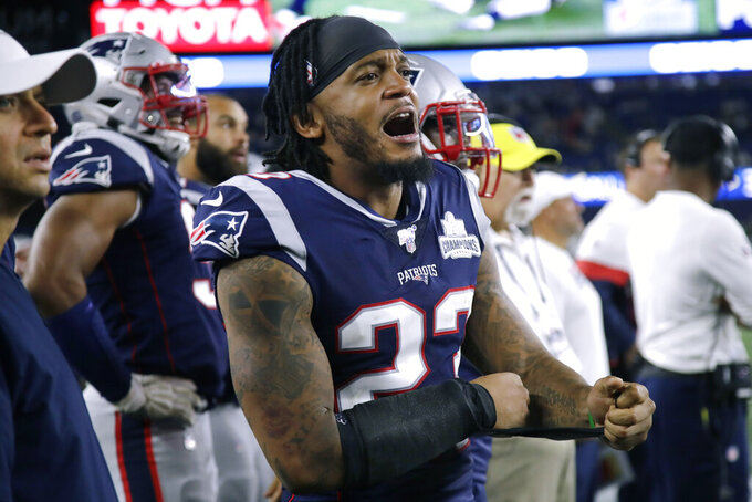 FILE - In this Sept. 8, 2019, file photo, New England Patriots safety Patrick Chung yells from the bench area during an NFL football game in Foxborough, Mass. A cocaine possession charge against Chung will be dropped with the understanding that he undergo periodic drug testing and perform 40 hours of community service, a prosecutor said Monday, Jan. 13, 2020. (AP Photo/Elise Amendola, File)