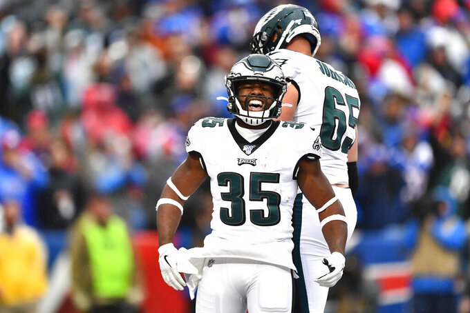Philadelphia Eagles' Boston Scott (35) celebrates his touchdown during the second half of an NFL football game against the Buffalo Bills, Sunday, Oct. 27, 2019, in Orchard Park, N.Y. (AP Photo/Adrian Kraus)
