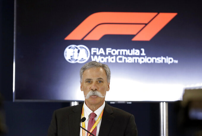 """FILE - In this file photo dated Thursday, Oct. 31, 2019, Formula One chairman Chase Carey speaks during a news conference at the Formula One U.S. Grand Prix auto race at the Circuit of the Americas, in Austin, USA.  Carey said Monday April 27, 2020, he is """"increasingly confident"""" the season can start in July despite the first 10 races being canceled or postponed amid the coronavirus pandemic. (AP Photo/Darron Cummings, FILE)"""
