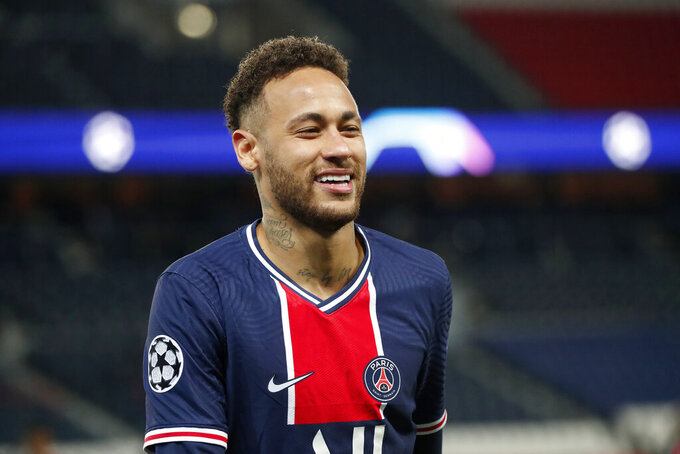 PSG's Neymar smiles during the Champions League, second leg, quarterfinal soccer match between Paris Saint Germain and Bayern Munich at the Parc des Princes stadium, in Paris, France, Tuesday, April 13, 2021. (AP Photo/Francois Mori)