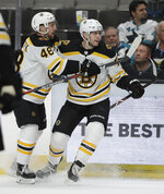 Boston Bruins' Jake DeBrusk, right, celebrates with Matt Grzelcyk (48) after scoring a goal against the San Jose Sharks in the second period of an NHL hockey game Monday, Feb. 18, 2019, in San Jose, Calif. (AP Photo/Ben Margot)