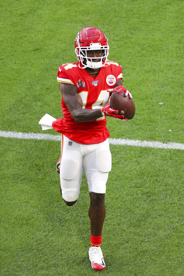Kansas City Chiefs wide receiver Sammy Watkins (14) catches a pass during warm-ups prior to the NFL Super Bowl football game against the San Francisco 49ers, Sunday, Feb. 2, 2020 in Miami Gardens, Fla. The Chiefs defeated the 49ers 31-20.(Margaret Bowles via AP)