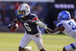 Auburn wide receiver Ja'Varrius Johnson (6) tries to get around Georgia State safety Antavious Lane (34) after a reception during the first half of an NCAA football game Saturday, Sept. 25, 2021, in Auburn, Ala. (AP Photo/Butch Dill)