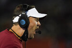 Oklahoma head coach Lincoln Riley questions a call against his team during the first half an NCAA college football game against Iowa State, Saturday, Oct. 3, 2020, in Ames, Iowa. (AP Photo/Charlie Neibergall)