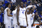 Seton Hall forward Tyrese Samuel (4) and the Seton Hall bench react during the second half of an NCAA college basketball game, Saturday, Nov. 23, 2019 in Newark, N.J. Seton Hall defeated Florida A&M 87-51. (AP Photo/Sarah Stier)
