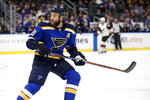 St. Louis Blues' Ryan O'Reilly skates during the first period of an NHL hockey game against the Arizona Coyotes Tuesday, Nov. 12, 2019, in St. Louis. (AP Photo/Jeff Roberson)