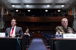 Defense Secretary Mark Esper, left, and Chairman of the Joint Chiefs of Staff Gen. Mark Milley appear during a House Armed Services Committee hearing on Thursday, July 9, 2020, on Capitol Hill in Washington. (Michael Reynolds/Pool via AP)