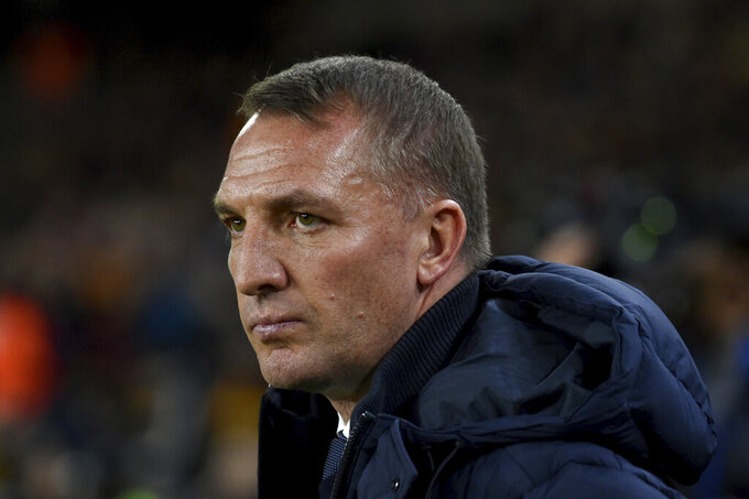 Leicester's manager Brendan Rodgers is seen before the English Premier League soccer match between Wolverhampton Wanderers and Leicester City at the Molineux Stadium in Wolverhampton, England, Friday, Feb. 14, 2020. (AP Photo/Rui Vieira)