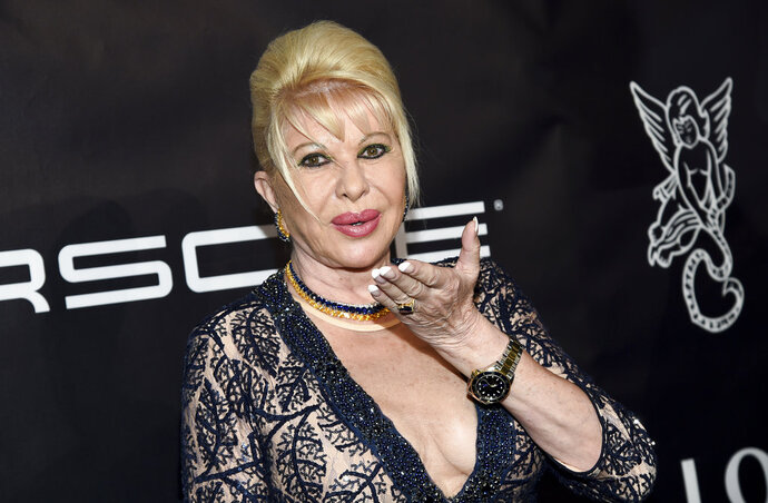 FILE - In this Monday, Oct. 23, 2017, file photo, socialite Ivana Trump attends the Angel Ball, hosted by Gabrielle's Angel Foundation for Cancer Research, at Cipriani Wall Street in New York. Trump, the former wife of President Donald Trump who once appeared with him in a commercial for Pizza Hut, wants America to lose some weight. On Wednesday, June 13, 2018, the businesswoman launched a promotional campaign for an Italian weight-loss diet system that offers packaged meals of specially made pastas, soups and drinks. (Photo by Evan Agostini/Invision/AP, File)