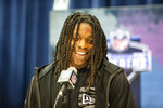 Laviska Shenault Jr. talks to the media at the NFL Scouting Combine on Tuesday, Feb. 25, 2020 in Indianapolis. (Detroit Lions via AP)