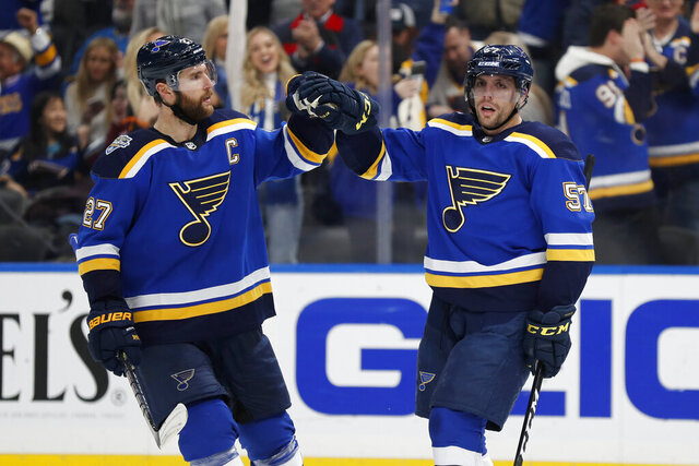 St. Louis Blues' David Perron (57) is congratulated by Alex Pietrangelo (27) after scoring during the second period of an NHL hockey game against the Colorado Avalanche Monday, Dec. 16, 2019, in St. Louis. (AP Photo/Jeff Roberson)