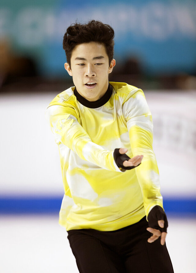 Nathan Chen performs his men's free skate program at the U.S. Figure Skating Championships, Sunday, Jan. 26, 2020, in Greensboro, N.C. (AP Photo/Lynn Hey)