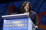 FILE - In this June 1, 2019, file photo, then Democratic presidential candidate Sen. Kamala Harris, D-Calif., speaks during the 2019 California Democratic Party State Organizing Convention in San Francisco. The California Democratic Party is holding its 2021 annual convention virtually from Thursday-Sunday, May 2, 2021. (AP Photo/Jeff Chiu, File)