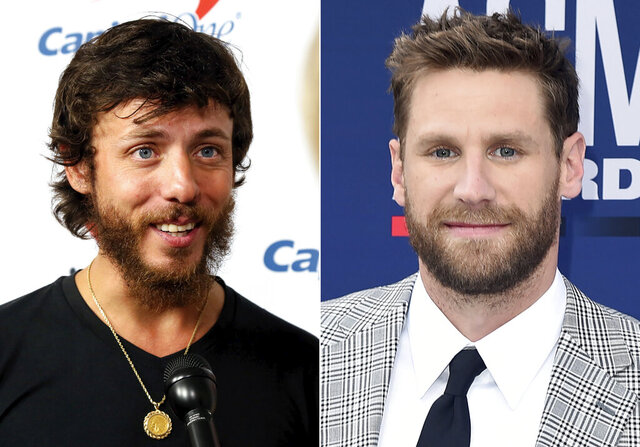 This combination photo shows Chris Janson at the iHeartCountry Festival in Austin, Texas on May 4, 2019, left, and Chase Rice at the 54th annual Academy of Country Music Awards in Las Vegas on April 7, 2019. Musicians and fans alike are criticizing country artists like Janson and Rice who performed at outdoor concerts this weekend where social media pictures showed large crowds without masks. Rice performed in front of a large crowd in Tennessee and Janson performed at an outdoor festival in Idaho. (AP Photo)