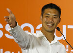 Future Forward Party leader Thanathorn Juangroongruangkit speaks during a press conference at the party headquarters in Bangkok, Thailand, Sunday, March 24, 2019. Nearly five years after a coup, Thailand voted Sunday in a long-delayed election pitting a military-backed party against the populist political force the generals overthrew. (AP Photo/Sakchai Lalit)