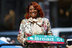 Singer Patti LaBelle smiles after a ceremony naming a street after her, Tuesday, July 2, 2019, in Philadelphia. A stretch of Broad Street, between Locust and Spruce Streets, will be renamed