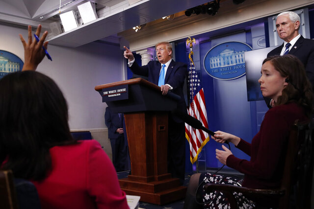 In this April 7, 2020, photo, President Donald Trump calls on a reporter for a question as he speaks about the coronavirus in the James Brady Press Briefing Room of the White House in Washington. First, it was the media that was at fault. Then, Democratic governors came under fire. China, President Barack Obama and federal watchdogs have all had a turn in the crosshairs. And now it's the World Health Organization that's to blame.  (AP Photo/Alex Brandon)